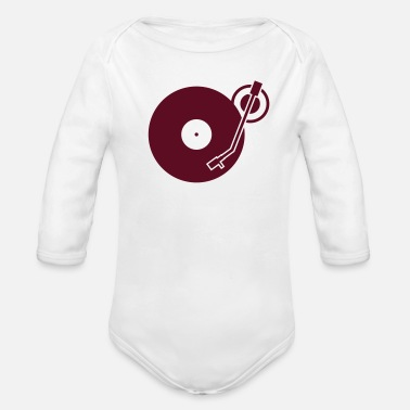 Platter headphones record disc platter disk dj record play techno minimal - Organic Long-Sleeved Baby Bodysuit
