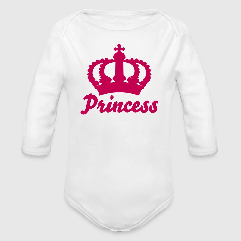 Keep Calm with this Custom Crown and Custom Text - Organic Long Sleeve Baby Bodysuit