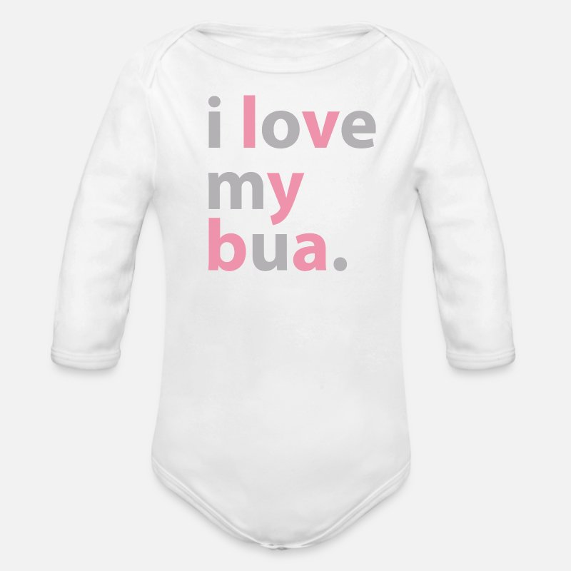 Baby Baby Clothing - Desi Baby Bodysuit - I love my bua - Long-Sleeved Baby Onesie white