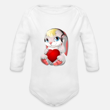 Valentines &amp cartoon rabbit & heart - Organic Long-Sleeved Baby Bodysuit