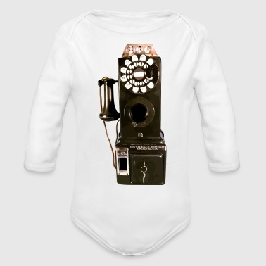 pay phone - Organic Long Sleeve Baby Bodysuit