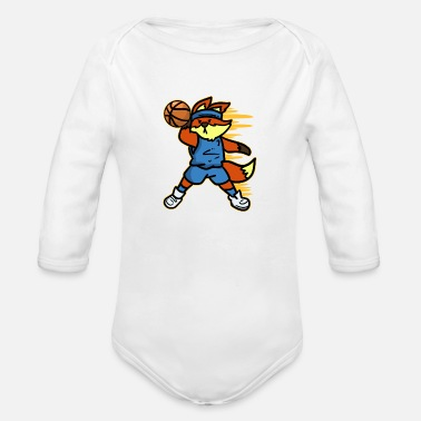 Sports Basketball Fox Player Zoo Sports Ball Sports Gift - Organic Long-Sleeved Baby Bodysuit