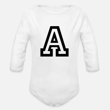 Greek Letters Letter A - Organic Long Sleeve Baby Bodysuit