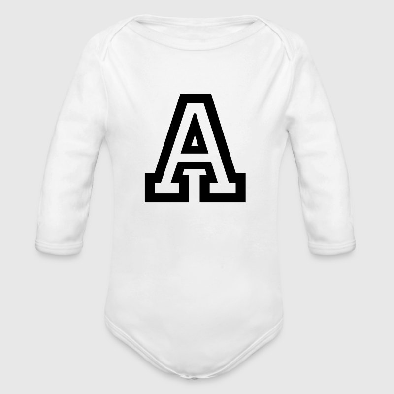 Letter A - Organic Long Sleeve Baby Bodysuit