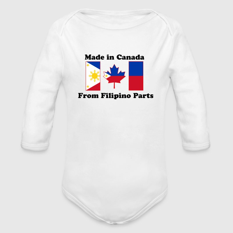 Canada Flag - Philippines - Organic Long Sleeve Baby Bodysuit