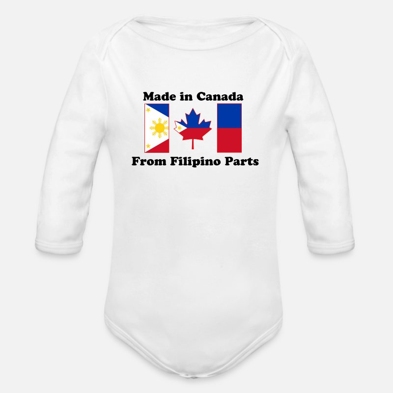 Canada Baby Clothing - Canada Flag - Philippines - Long-Sleeved Baby Bodysuit white