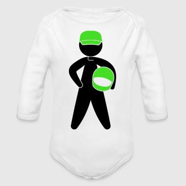 A Racer With Helmet - Organic Long Sleeve Baby Bodysuit