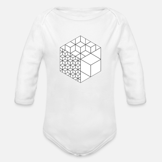 Square Baby Clothing - cubes - Organic Long-Sleeved Baby Bodysuit white