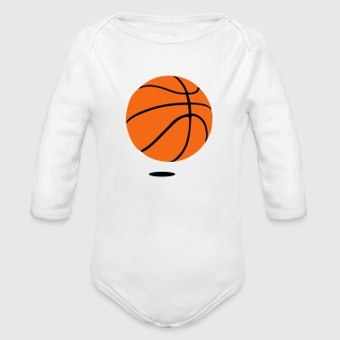 basketball - b ball - basket ball - Organic Long Sleeve Baby Bodysuit
