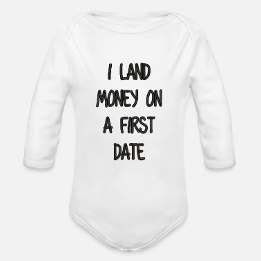 Date I land money - Organic Long-Sleeved Baby Bodysuit