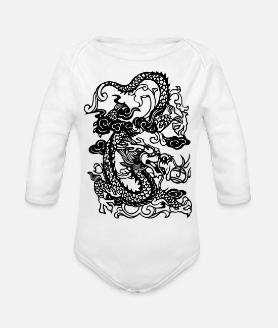 Japanese Dragon Baby One Pieces - Dragon - Asian - Tattoo - Fantasy - Organic Long-Sleeved Baby Bodysuit white