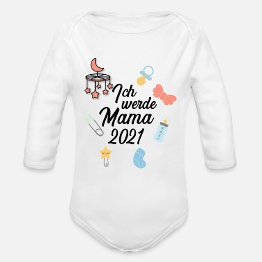 Pregnant I will mama 2021 baby pregnant daughter son - Organic Long-Sleeved Baby Bodysuit