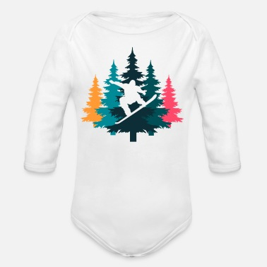 Winter Vacation Pine Snowboard, winter vacation - Organic Long-Sleeved Baby Bodysuit
