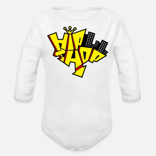 Quotes Baby Clothing - Hip Hop Music Quote - Organic Long-Sleeved Baby Bodysuit white