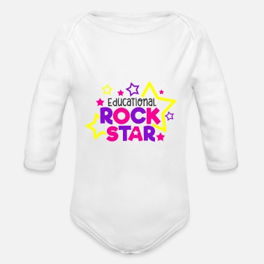 Education Culture Educational Rockstar School Education Gift - Organic Long-Sleeved Baby Bodysuit