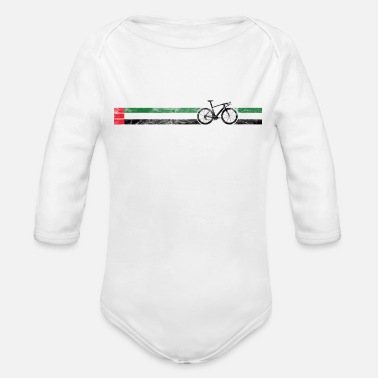 Italian Cyclist Flag UAE Arab Emerites AE Bike Racing Black - Organic Long Sleeve Baby Bodysuit