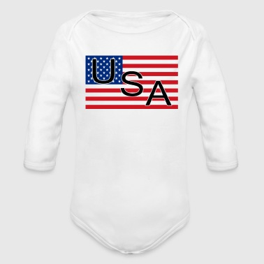American Flag 4th of July MAGA Patriot Retro USA - Organic Long Sleeve Baby Bodysuit