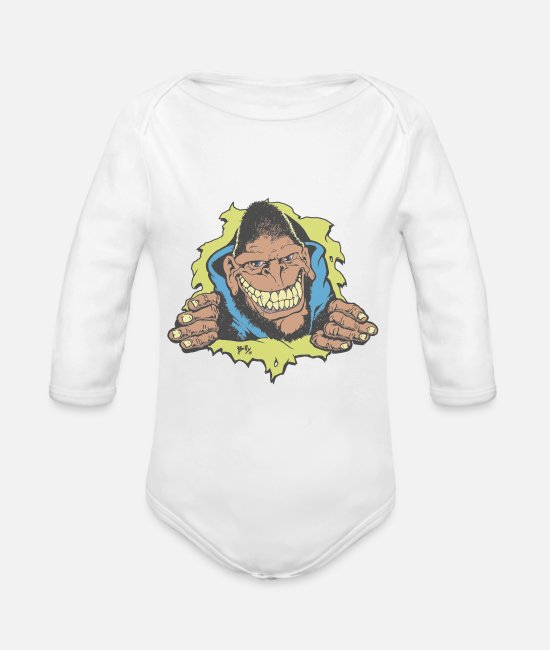 Godzilla Baby One Pieces - Gorilla Biscuits - Organic Long-Sleeved Baby Bodysuit white