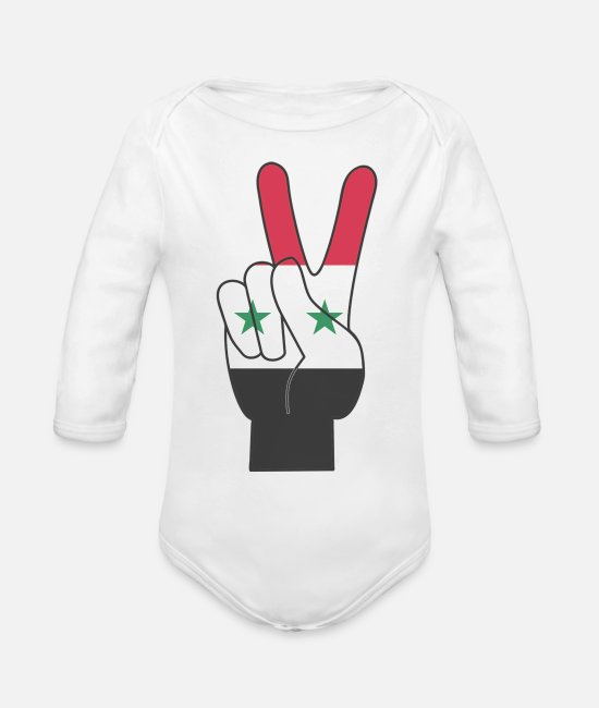 Irak Baby One Pieces - Free Syria - Organic Long-Sleeved Baby Bodysuit white