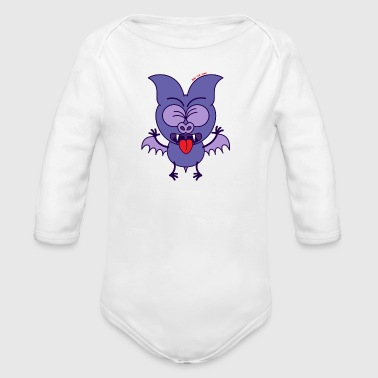 Purple Bat Feeling Disgusted - Organic Long Sleeve Baby Bodysuit