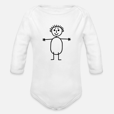 Bimote Arms stretch out - stick figure - Organic Long-Sleeved Baby Bodysuit