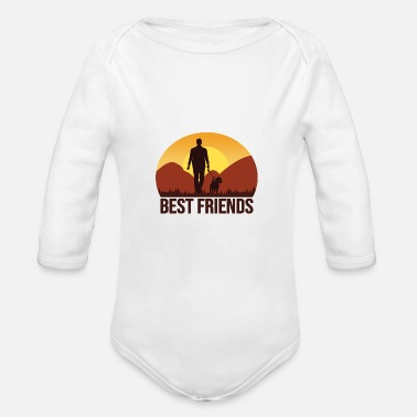 Dog-walking Walking the dog - Organic Long-Sleeved Baby Bodysuit
