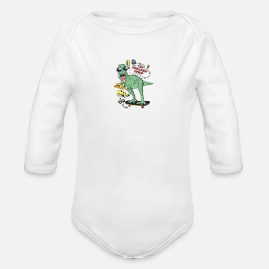 Dinosaur Baby Clothing - The Bodacious Period - Organic Long-Sleeved Baby Bodysuit white