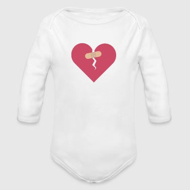 broken heart healed by patch - Organic Long Sleeve Baby Bodysuit