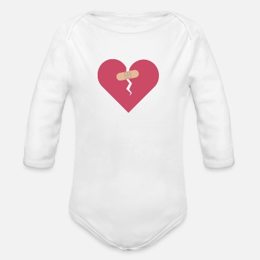 Healing broken heart healed by patch - Organic Long-Sleeved Baby Bodysuit