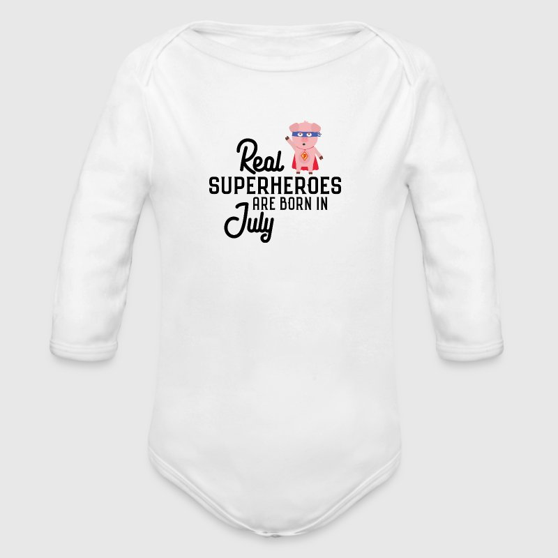 Superheroes-are-born-in-July So9em - Long Sleeve Baby Bodysuit