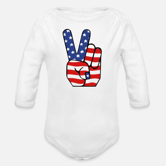 July Baby Clothing - peace - Organic Long-Sleeved Baby Bodysuit white