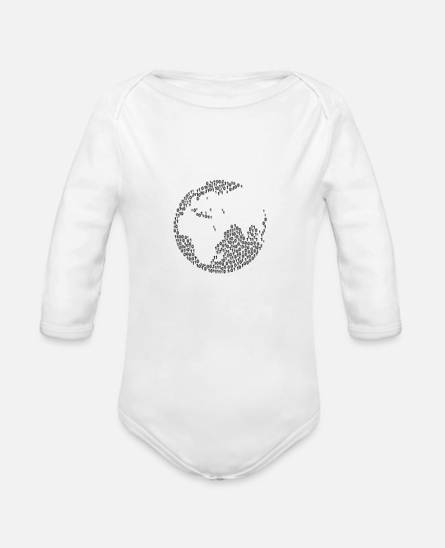 Proud Baby One Pieces - Binary Wordcloud in Globe with Middle East Form (b - Organic Long-Sleeved Baby Bodysuit white