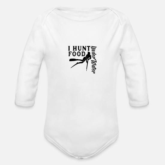 Spear Baby Clothing - Harpoon Speargun Spear Fishing Fish Spear Fisher - Organic Long-Sleeved Baby Bodysuit white