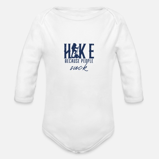 Hiking Baby Clothing - Hiking Hiking Hiking Hiking - Organic Long-Sleeved Baby Bodysuit white