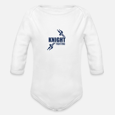 Knight Fight Knights Fighting - Organic Long-Sleeved Baby Bodysuit