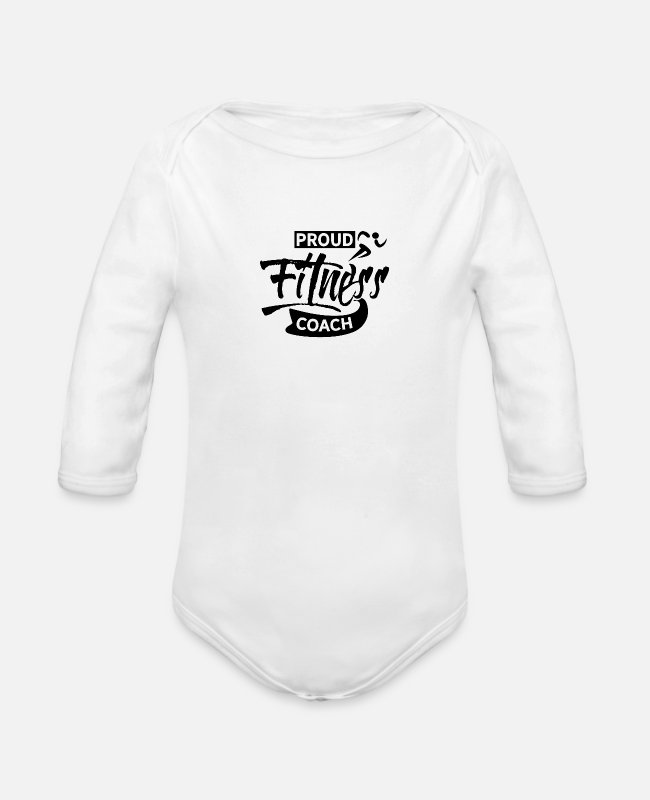 Training Baby One Pieces - Fitness Trainer - Organic Long-Sleeved Baby Bodysuit white