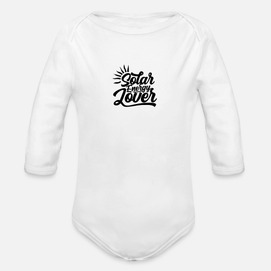 Renewable Baby Clothing - Sun Solar Energy Sun Energy Green Power Renewable - Organic Long-Sleeved Baby Bodysuit white