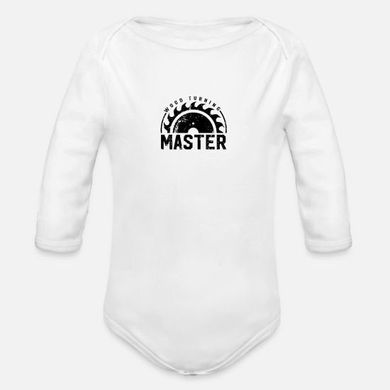 Forest Baby Clothing - Timber Turner Team Wood Turning Woodturning - Organic Long-Sleeved Baby Bodysuit white