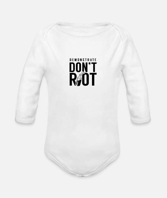 Antifa Baby One Pieces - Demonstrate don't riot - Organic Long-Sleeved Baby Bodysuit white