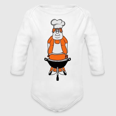 bbq grilling chef sausage chef meat cook fat sausa - Organic Long Sleeve Baby Bodysuit