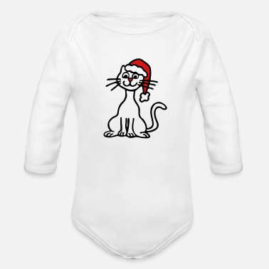 Sumu Lee christmas cat 3 - Organic Long Sleeve Baby Bodysuit