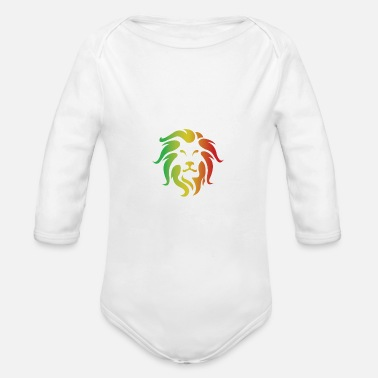Cat Of Prey Lion Rasta colored Lion Art - Organic Long-Sleeved Baby Bodysuit
