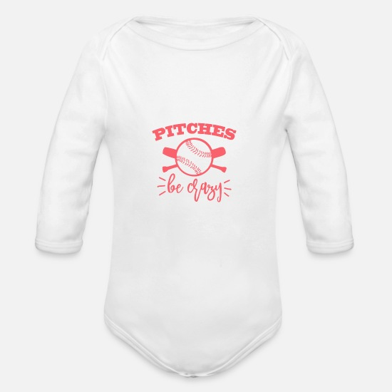 Crazy Baby Clothing - Pitches be crazy - Organic Long-Sleeved Baby Bodysuit white