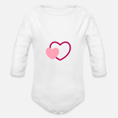 I Heart Heart in the heart I 2 Hearts Love Gift - Organic Long Sleeve Baby Bodysuit