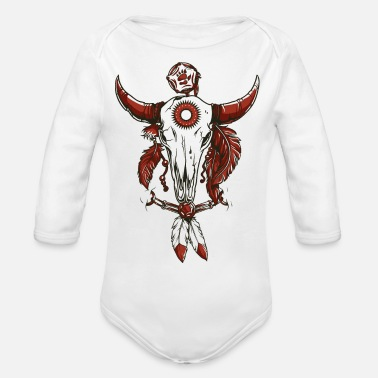 Skull Cow Skull Indian Leather Logo Symbol Drawing Paint - Organic Long Sleeve Baby Bodysuit