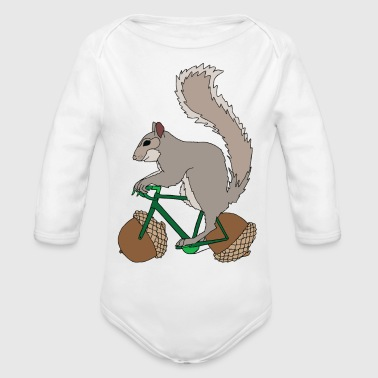 Squirrel on Bike with Accord Wheels - Organic Long Sleeve Baby Bodysuit