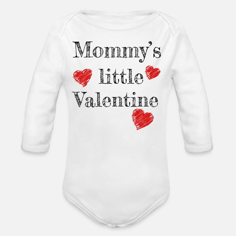 Valentine's Day Baby Clothing - Valentine's Day Mommy's Little Valentine - Organic Long-Sleeved Baby Bodysuit white