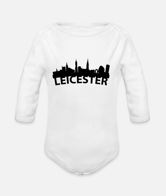 English Baby One Pieces - Arc Skyline Of Leicester England - Organic Long-Sleeved Baby Bodysuit white