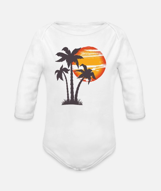 Palm Trees Baby One Pieces - Beach Gift Summer Sunset Palm Tree Vacation - Organic Long-Sleeved Baby Bodysuit white
