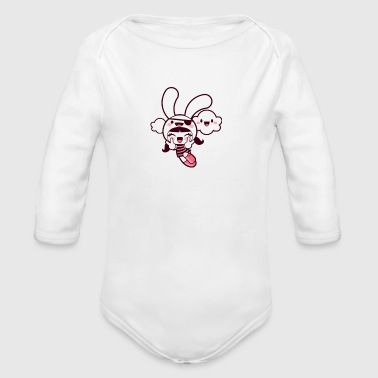 animated caricature - Organic Long Sleeve Baby Bodysuit